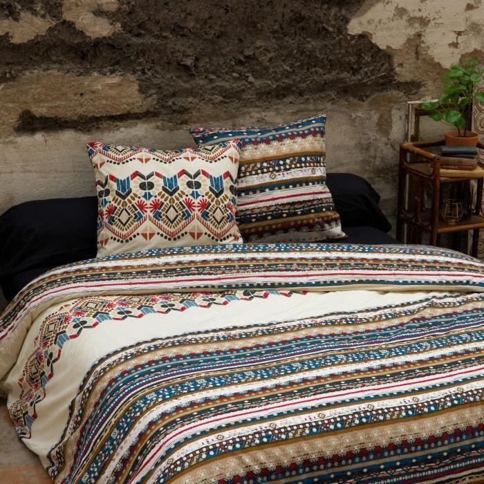 CDaffaires Parure de lit (housse de couette + 1 taie d'oreiller) 140x200 kilim Multicolore