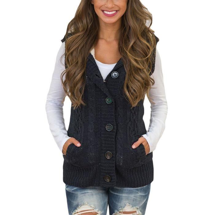 Gilet QBCOX chandail à capuchon sans manches pour femmes gilet bouton cardigan en tricot cardigan Taille-38