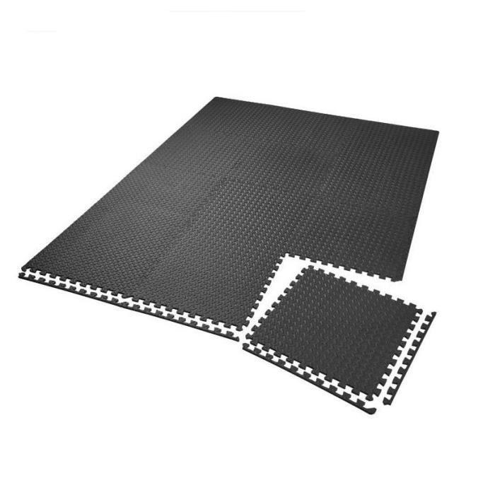 Lot de 48 Dalles Carrées EVA - Tapis de sol, Sport, Gymnastique Yoga Tapis Puzzle Antidérapant Mousse Noir 600 X 600 mm