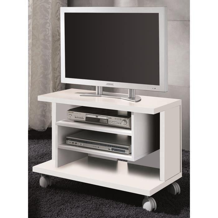 Meuble TV coloris blanc en bois - Dim : 54,5 x 40 x 80 cm