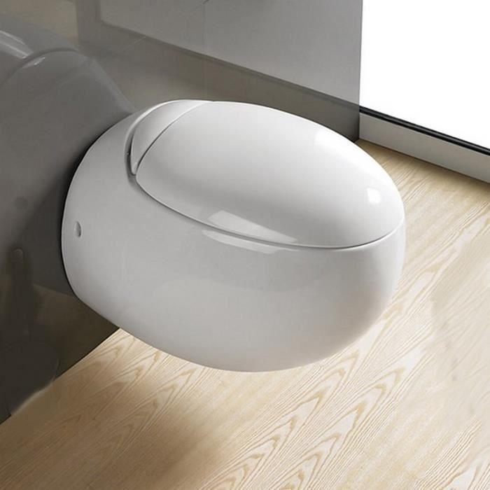 WC Suspendu Oeuf, 59x41 cm, Blanc, avec Abattant, Ove