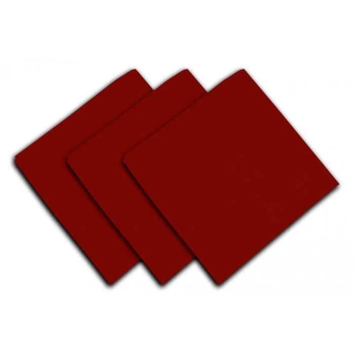 SOLEIL D'OCRE Lot de 3 serviettes de table Panama - 45x45 cm - Rouge