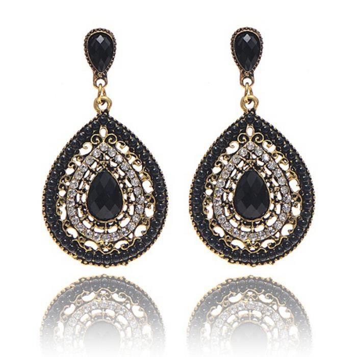 Mode féminine Fête de mariage Charm bijoux Vintage Bohemian perles coeur pendentif boucles d'oreilles femme