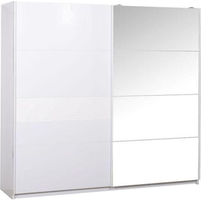 Armoire 2 portes coulissantes Laqué Blanc - SENYA - L 260 x l 65 x H 223 cm