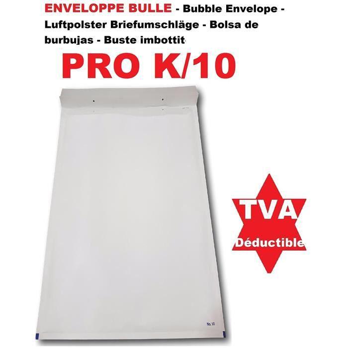 50 Enveloppes a Bulles blanche PRO k-10 350 x 470 mm (dimension pochette intérieure) type k10 enveloppe matelassé blanc 350 x 470 +