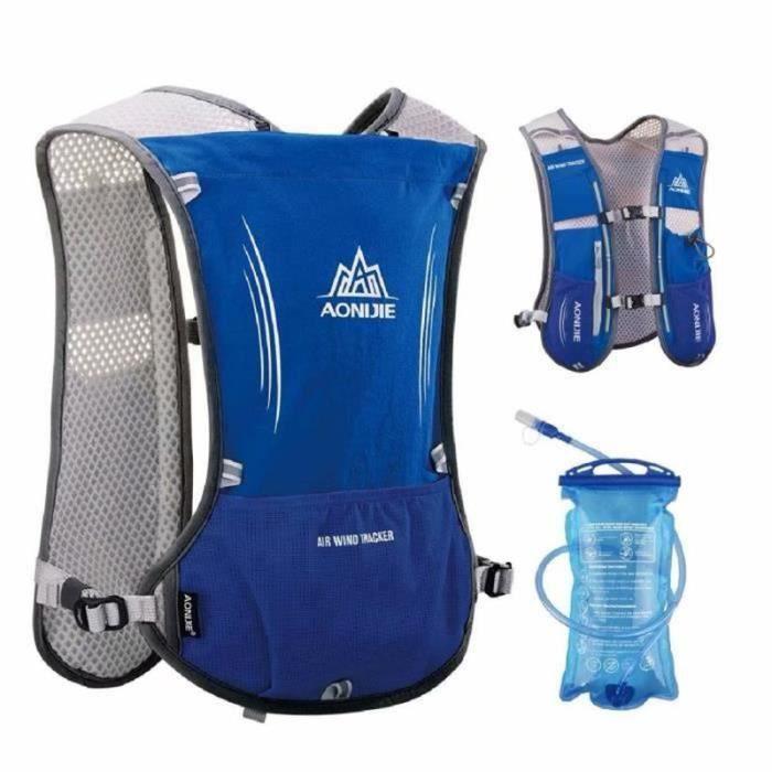 BIR22369-Sac à Dos Hydratation 5L Marathoner Running Race Gilet d'hydratation - Bleu - avec vessie d'eau de 1,5 L