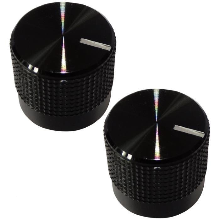 2 boutons de potentiomètre pour axe lisse 6mm Ø36.5x20.5mm gris//rouge en ABS