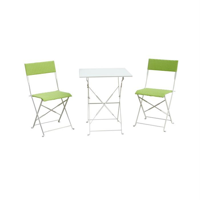 Salon De Jardin R Sine Tress E Table Pliable Vert Achat Vente Salon De Jardin Salon De