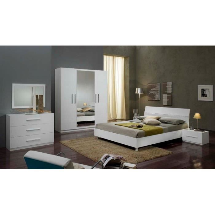 Chambre coucher mod le gloria blanche laquee armoire 4 p for Achat chambre a coucher complete