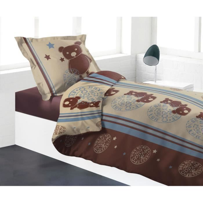 housse de couette 140x200 mon copain ours marron achat vente housse de couette cdiscount. Black Bedroom Furniture Sets. Home Design Ideas