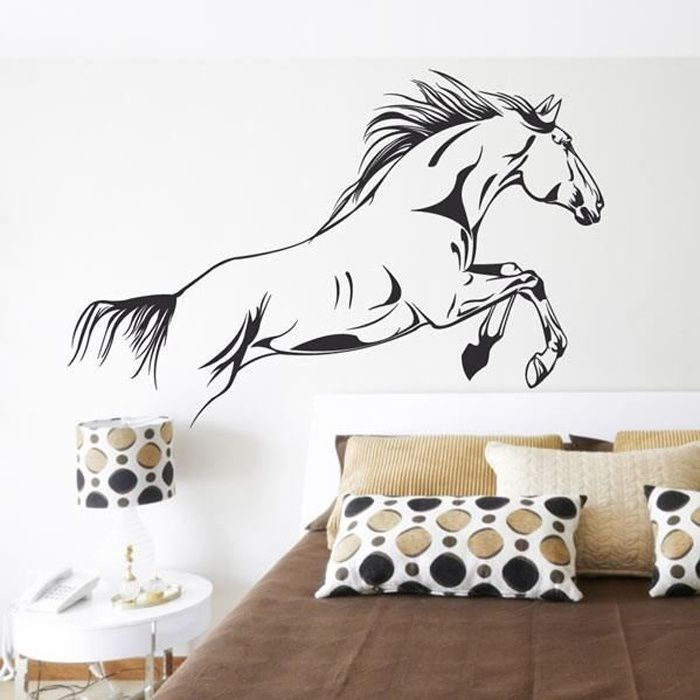 sticker mural cheval sauvage achat vente stickers. Black Bedroom Furniture Sets. Home Design Ideas
