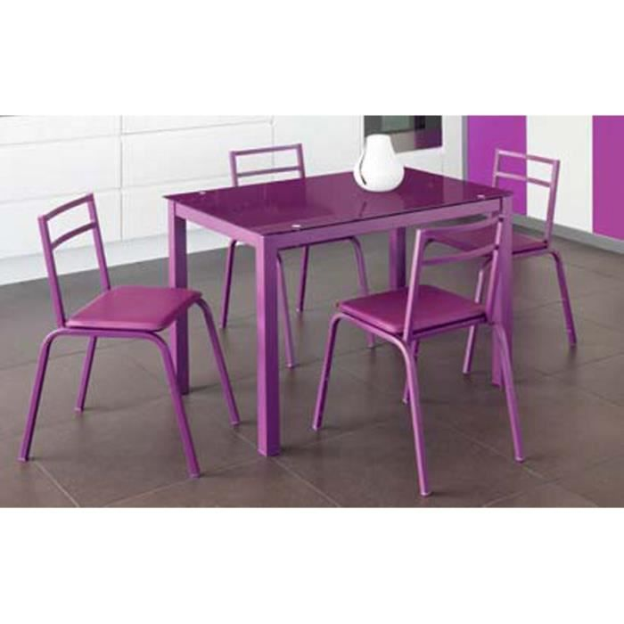 table et 4 chaises aubergines 39 piano 39 achat vente table de cuisine table et 4 chaises. Black Bedroom Furniture Sets. Home Design Ideas