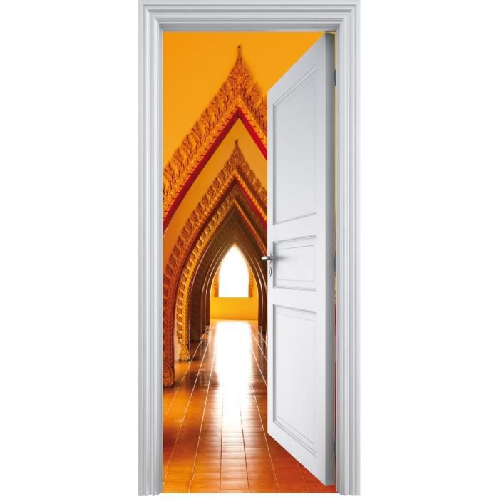 Sticker porte trompe l 39 oeil voutes orientale 90 achat for Sticker deco porte interieure