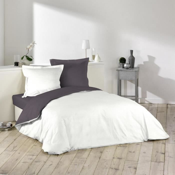 housse de couette bicolore 220x240 cm blanc gris achat vente housse de couette cdiscount. Black Bedroom Furniture Sets. Home Design Ideas