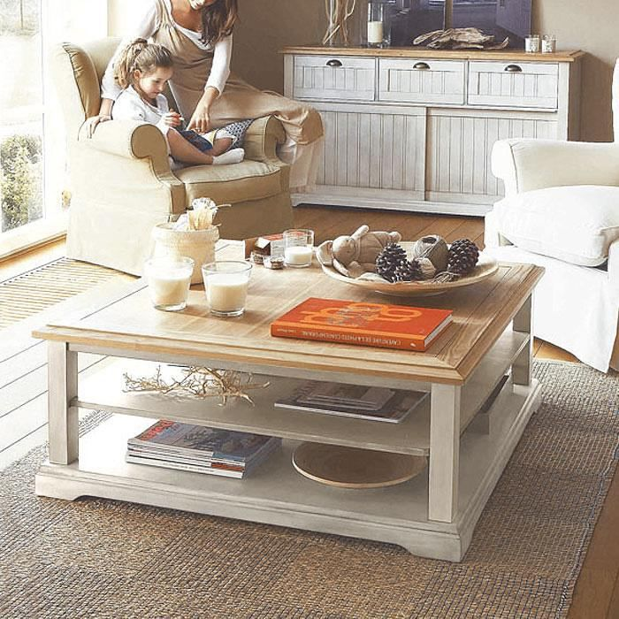 Table Basse Carree Berling Blanc Patine Achat Vente Table