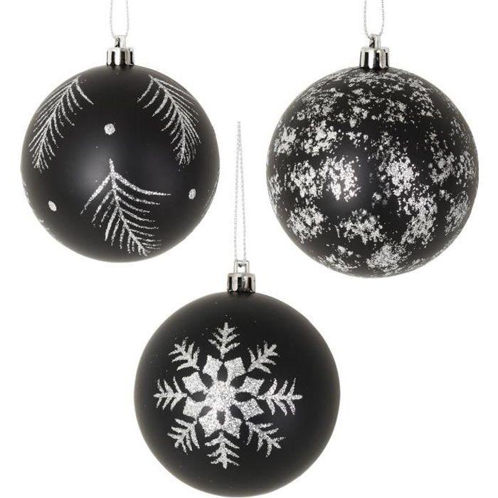 Lot de 3 Boules de Noel noir et blanc   Achat / Vente boule de