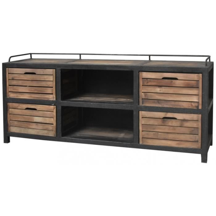 meubles tv style industriel achat vente meubles tv. Black Bedroom Furniture Sets. Home Design Ideas