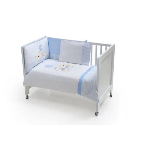 interbaby set de 3 pi ces couette tour de lit coussin pour lit bleu 60x120 cm achat. Black Bedroom Furniture Sets. Home Design Ideas
