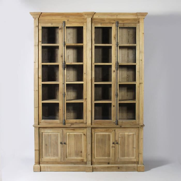 biblioth que vitr e authentiq en pin recycl bois. Black Bedroom Furniture Sets. Home Design Ideas
