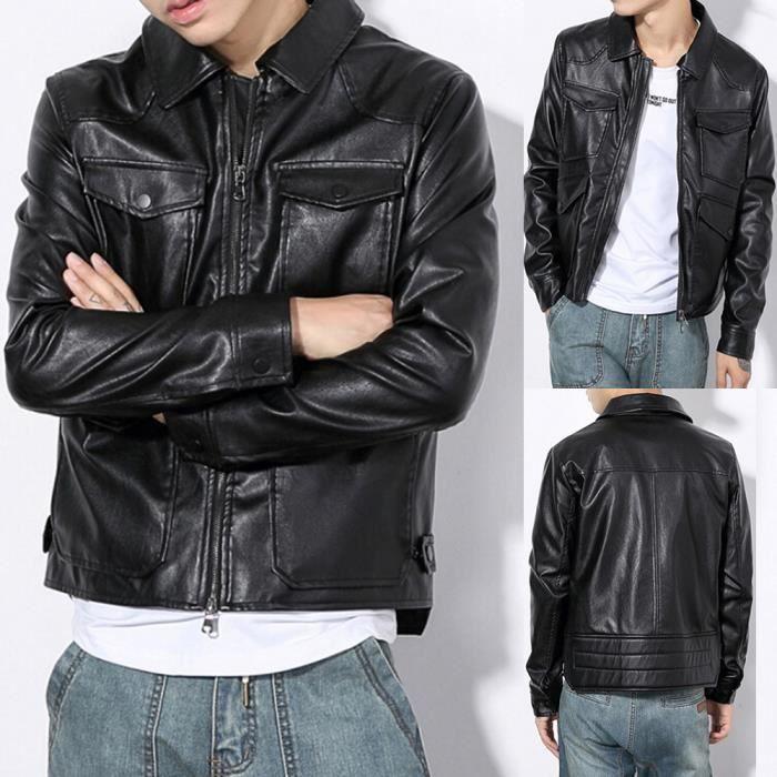 qualité stable nouvelle collection prix imbattable Taille Plus Blouson Simili Cuir Homme Perfecto Moto Style Zippée ...