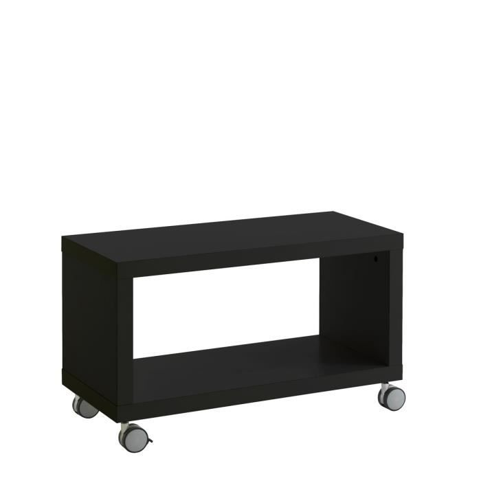 short meuble tv 76cm roulettes noir brillant achat. Black Bedroom Furniture Sets. Home Design Ideas