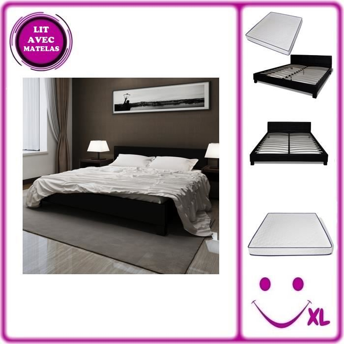 lit en simili cuir avec matelas m moire de forme 180x200cm noir achat vente chambre. Black Bedroom Furniture Sets. Home Design Ideas