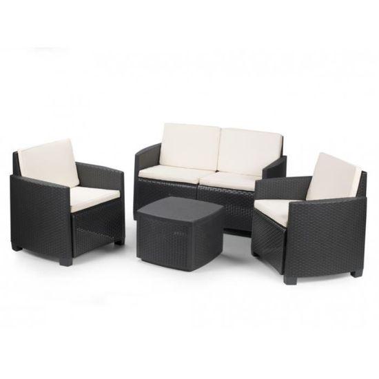 Salon de jardin ALISEA en résine moulée anthracite : un canapé 2 places, 2  fauteuils et une table