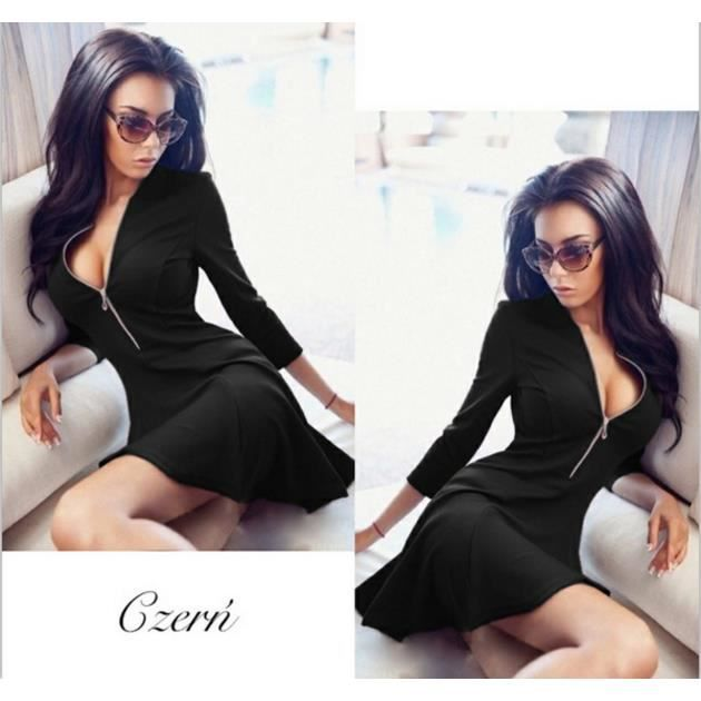 couleur longues sexy Slim poitrine Zip v Femme Neck pure robe manches H1gwgqz