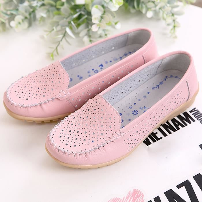 Femmes Shoe Rose Leather Cutout Ballet Shoes Genuine On Loafers Flats Slip RqRfxAnw6r