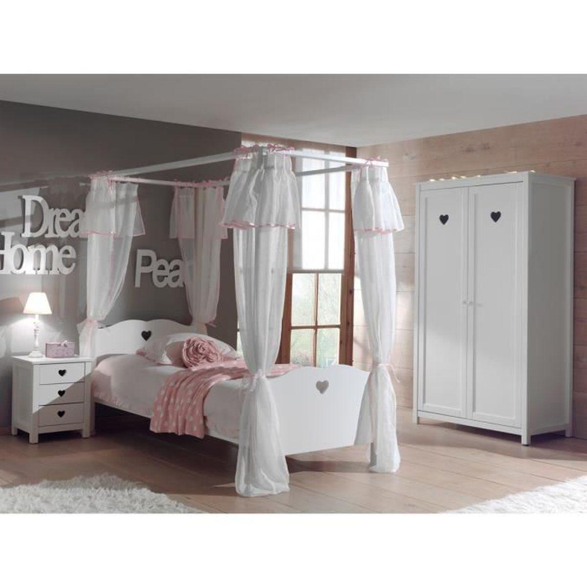 Chambre Blanche Et Bois chambre enfant lit baldaquin en bois blanc 90x200 hélène