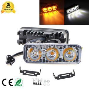 R Blanc Froid 7000K 2 X18W Feux de Jour Auto Lampe DRL Diurne de Conduite 18 LED Voiture Ampoule 500LM DC 12V LED lampe feu de jour SODIAL