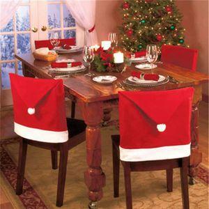 DÉCORATION DE TABLE Santa Hat Couvre-Chaise, Red Hat Chaise Couvre Dos