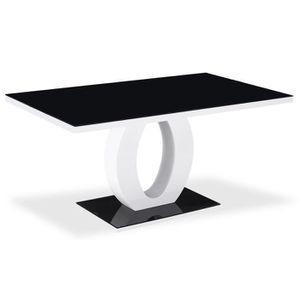 TABLE À MANGER SEULE Table rectangulaire laquée Noir Ophélie