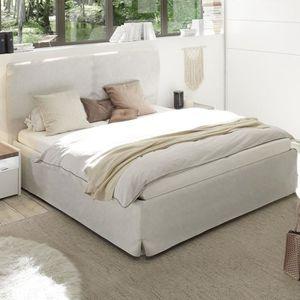 STRUCTURE DE LIT Lit double coffre blanc design DEBORAH Blanc L 190