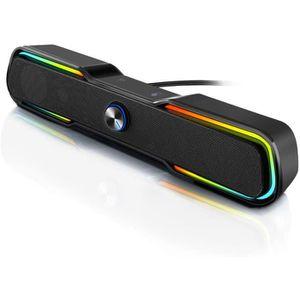 Haut-Parleur Dordinateur Lecteur de Musique St/ér/éo USB Audio Microphone Jack Bouton Interrupteur Barre de Son pour Ordinateur de Bureau