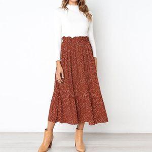 JUPE Tenue décontractée imprimée jupe longue taille hau