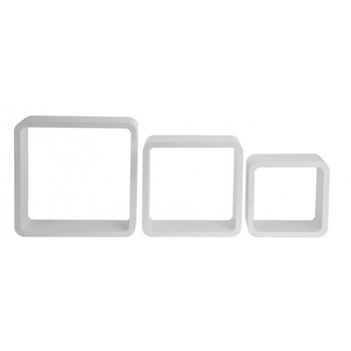 Etagères murales cubes - Lot de 3 - Blanc