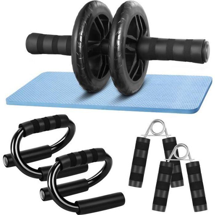 A B roue à roulettes + tapis de fitness Entraîneur abdominal