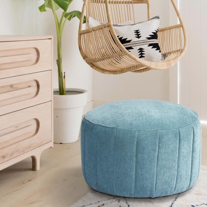 FURNISH1 AKBAR LARGE - Canapé Tabouret 1 place - Pouf Tabouret Rond en tissu bleu clair - Style Moderne - 60 x 60 x H40cm