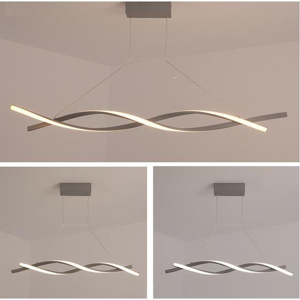 Lustre - suspension LED Spirale Blanc dimming avec télécommande Lustre Led Pendentif en acrylique Lampe moderne Diamètre 100cm