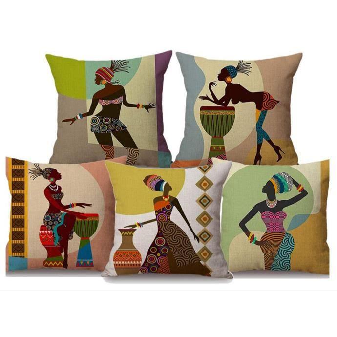 Housse de Coussin ,Africaine Culture Coussin Décoratif Couverture Lin Taie d'oreiller 45X45 cm (4pcs)