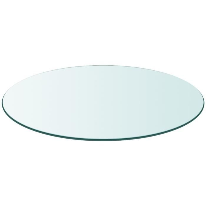 Table en Verre, Dessus de Table Ronde Verre Trempé, 700 mm, Plateau de Table Meuble Transparent