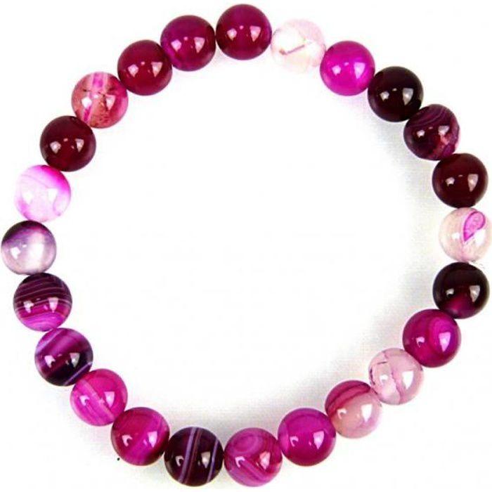 Bracelet Lithothérapie en Agate rose - Chance, paix intérieure. Rose