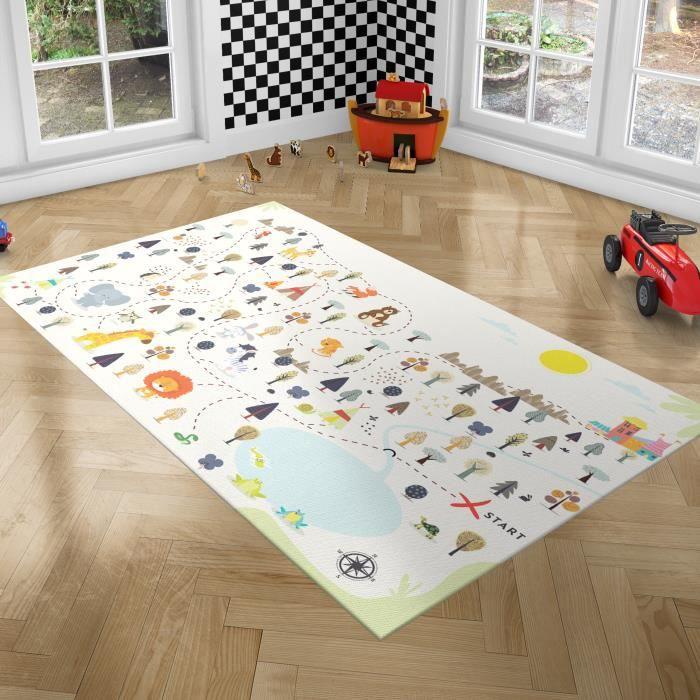 PLAYGROUND Tapis de Jeux pour Enfants - Tapis de Chambre - Forêt - 100x150 cm