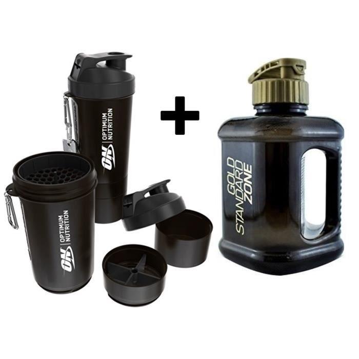 Optimum Nutrition Gym Protein Shaker Carafe bouteille d'eau de 2 l + shaker de protéine avec 600 ml de rangement
