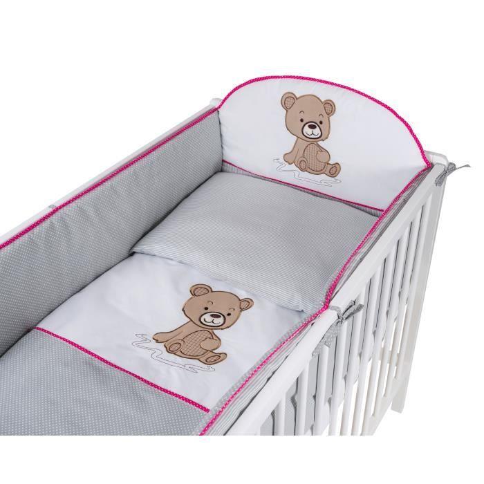 TOMI - Parure pour lit Bébé 60x120 cm -Ourson- - Gris - Rose - Housse de couette, taie d'oreiller, tour de lit.