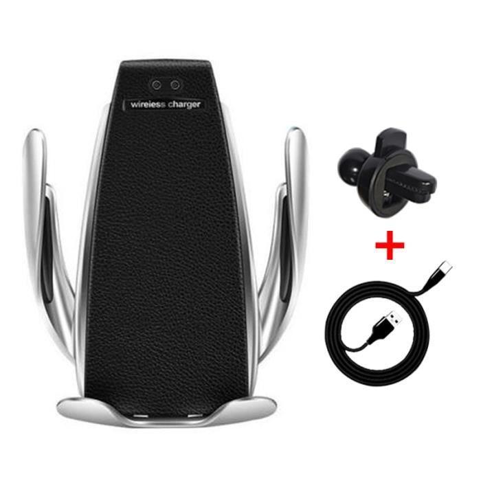 Supports voiture,Qi chargeur de téléphone sans fil S5 serrage automatique support de téléphone de charge rapide dans la - Type S5