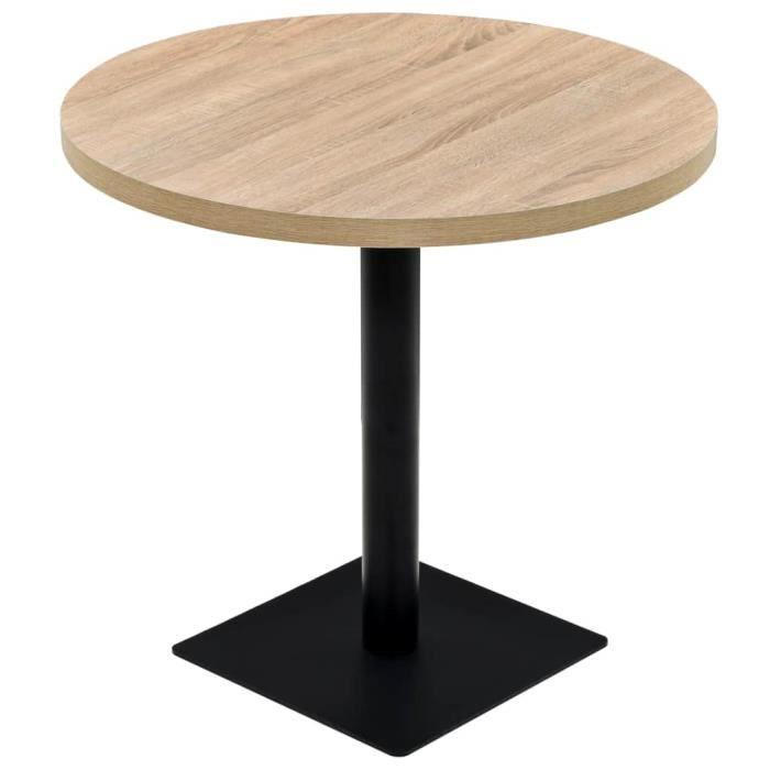 Table de bistro rond - MDF et acier - Couleur de chêne - 80 x 75 cm