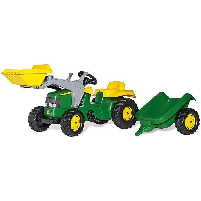 Vélos et véhicules pour enfants Rolly Toys - 023110 - Tracteur à pédales avec pelleteuse et remorque - 168cm 34757