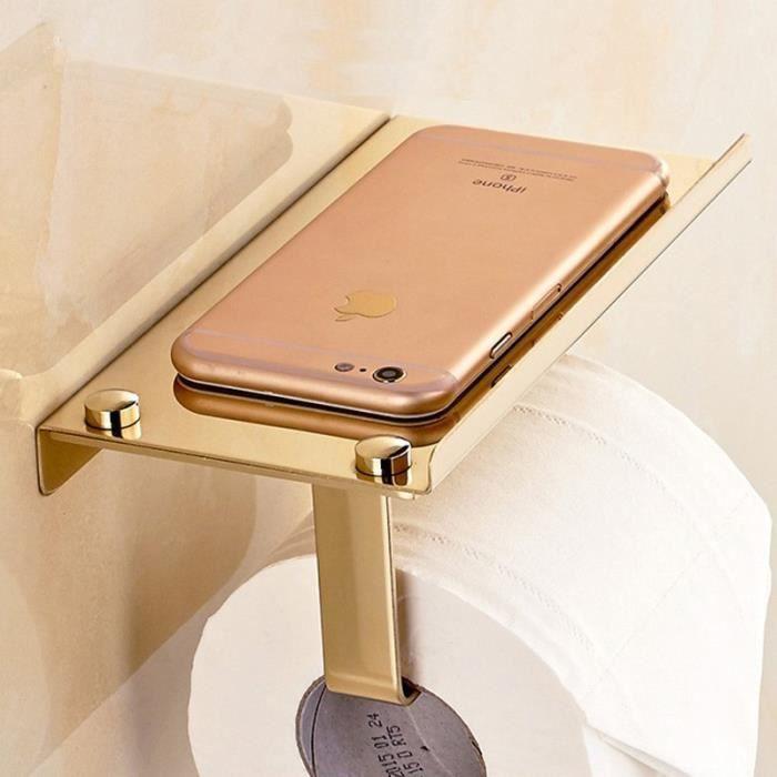 Serviteur Wc,Montage mural concis salle de bain 4 S En acier inoxydable, porte papier s avec étagère pour - Type Golden Glossy